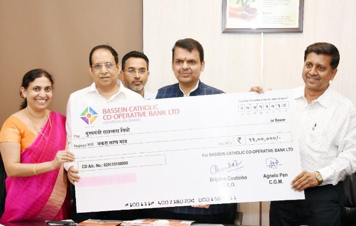 Photo of बेसिन कैथोलिक बैंक ने सीएम राहत कोष में दिए 11 लाख रुपये